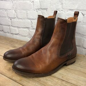 Frye Chelsea antiqued leather ankle boots, cognac
